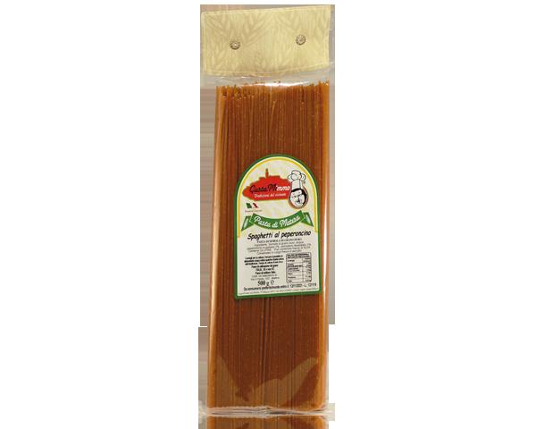 SPAGHETTI AL PEPERONCINO  Pasta fresca secca prodotta a Matera  confezione da 1/2 Kg • €1,98