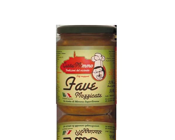 FAVE MOZZICATE  Fave secche, pomodori, cipolle, sedano, sale, prodotto locale  barattolo da 314 ml • €3,19