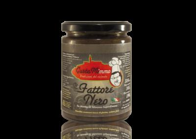 IL FATTORE NERO  Ceci neri, funghi cardoncelli, polpa di pomodoro, olio evo, aglio, prezzemolo, sale, prodotto locale  barattolo da 314 ml • €3,15