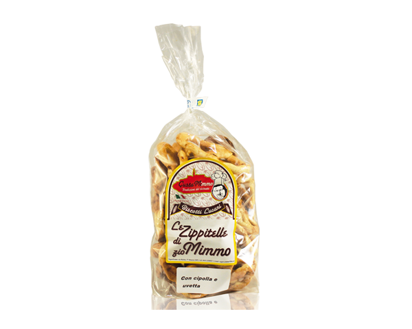 LE ZIPPITELLE DI ZIO MIMMO CIPOLLA E UVETTA  Taralli prodotto locale  confezione da 300 gr • €3,00