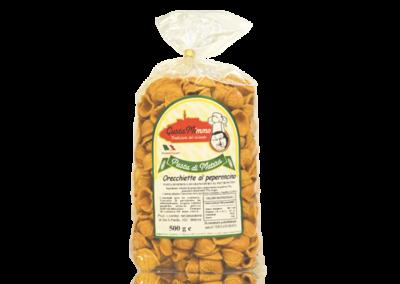 ORECCHIETTE AL PEPERONCINO  Pasta fresca secca prodotta a Matera  confezione da 1/2 Kg • €1,65